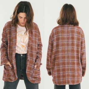 Free People Simply Plaid Slouchy Blazer Linen